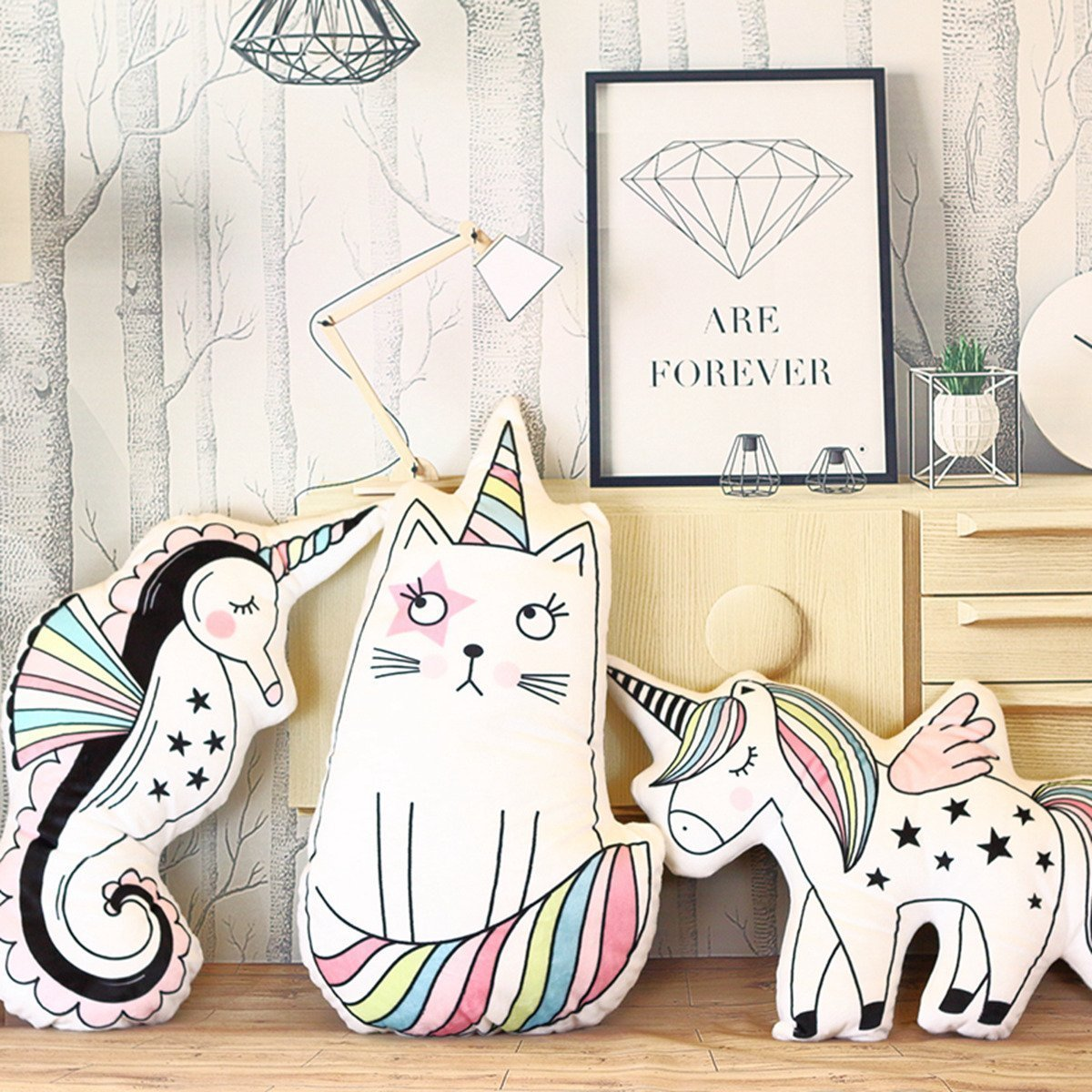 ABYED 16 Unicorn Emoji Throw Pillow Stuffed Animals Courch Plush Toy,Home Decorations and Unicorn Party Supplies Perfect Unicorn Gifts!,Sea Horse