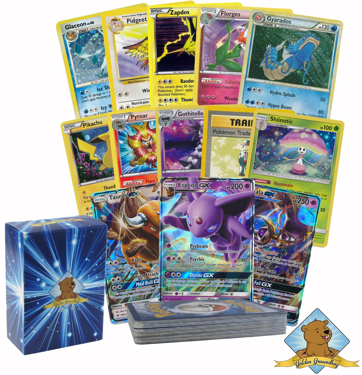 30 Pokemon Card Lot w/ 1 Ultra Rare GX, 6 Holos and 4 Rares! No Duplicates! By Golden Groundhog