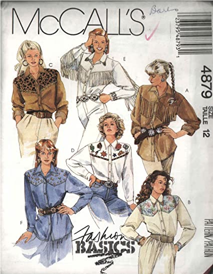 Amazon Mccalls 4879 Sewing Pattern For Western Shirts With