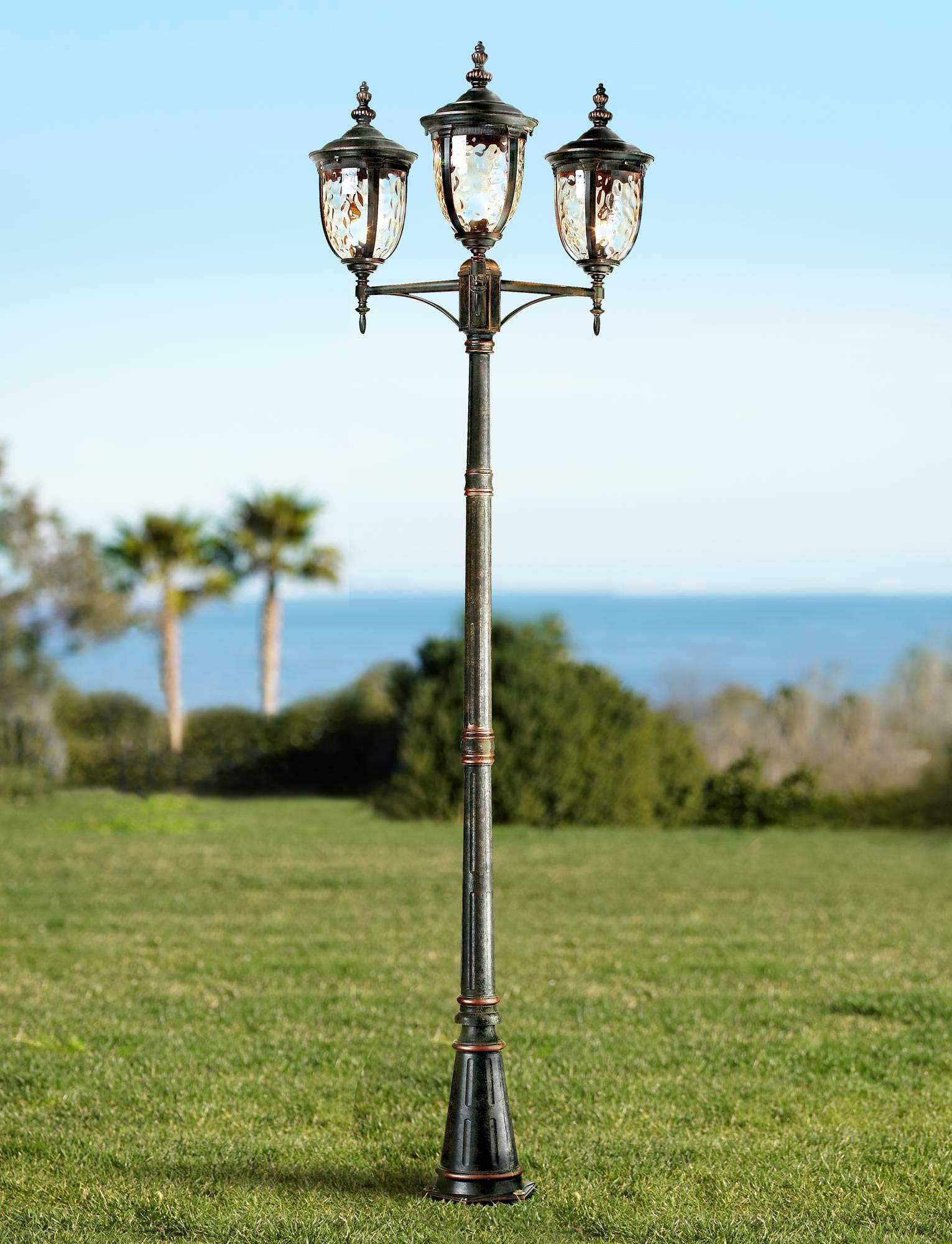 Bellagio Traditional Outdoor Post Light Street Lantern 3 Light Veranda Bronze 96'' Clear Hammered Glass for Exterior Garden Yard Driveway - John Timberland