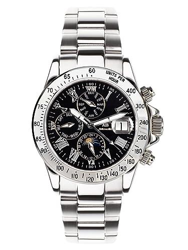 André Belfort 410138 - Reloj analógico de caballero automático con correa de acero inoxidable plateada - sumergible a 50 metros: Amazon.es: Relojes