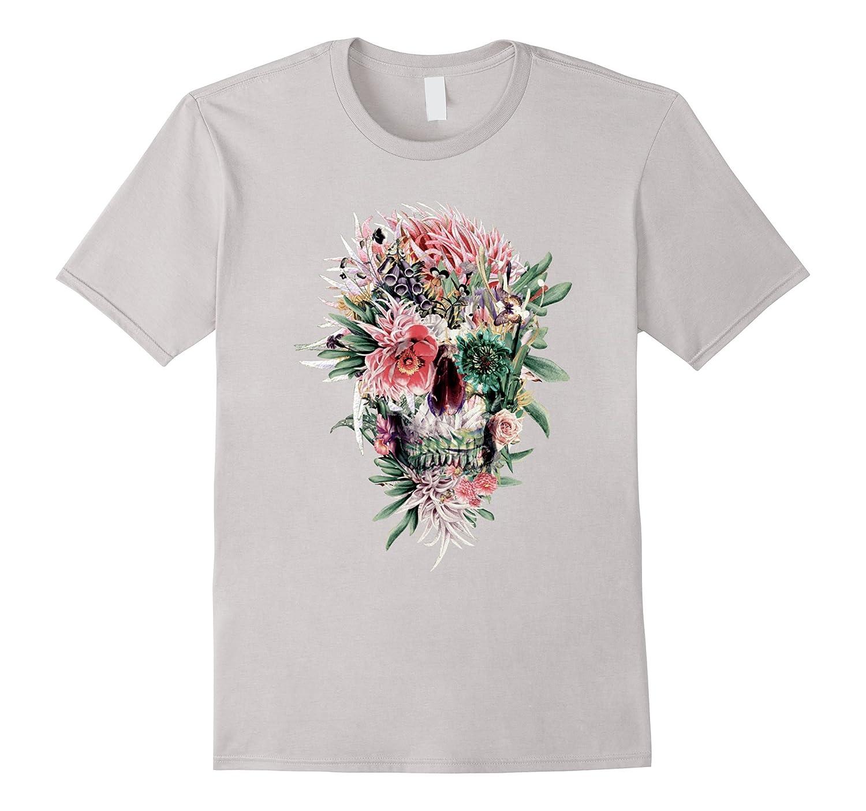 Beautiful Art Floral Skull T-Shirt Sugar Skull Shirt-ln