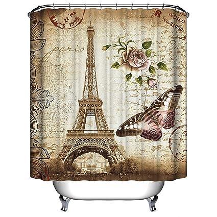 Amazon.com: Mildew Resistant Fabric Shower Curtain , Tezoo Home Deco ...