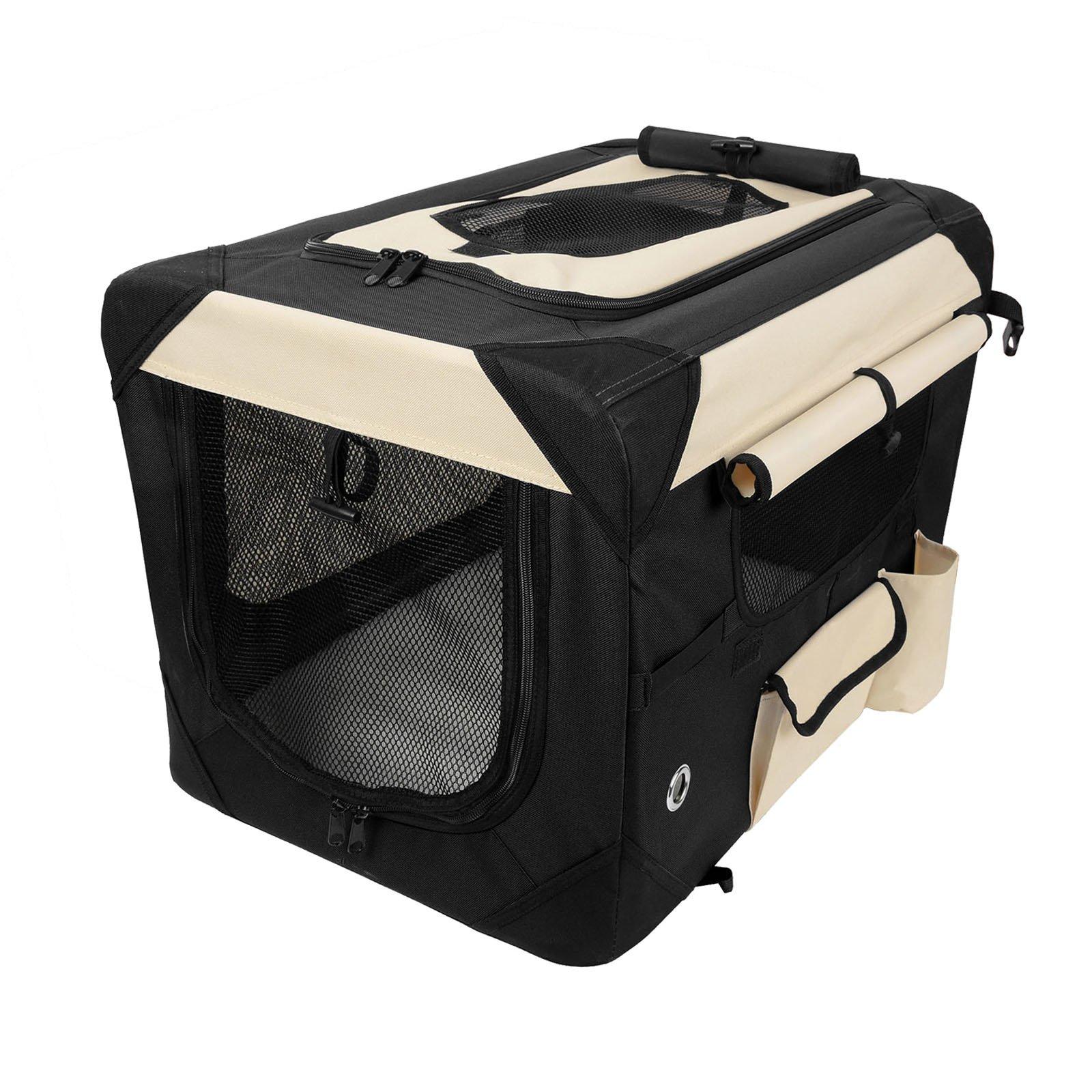 WOLTU Premium Soft Sided Pet Carrier Foldable Pet Travel Crate, Black+Beige, PCS01blkS4-a