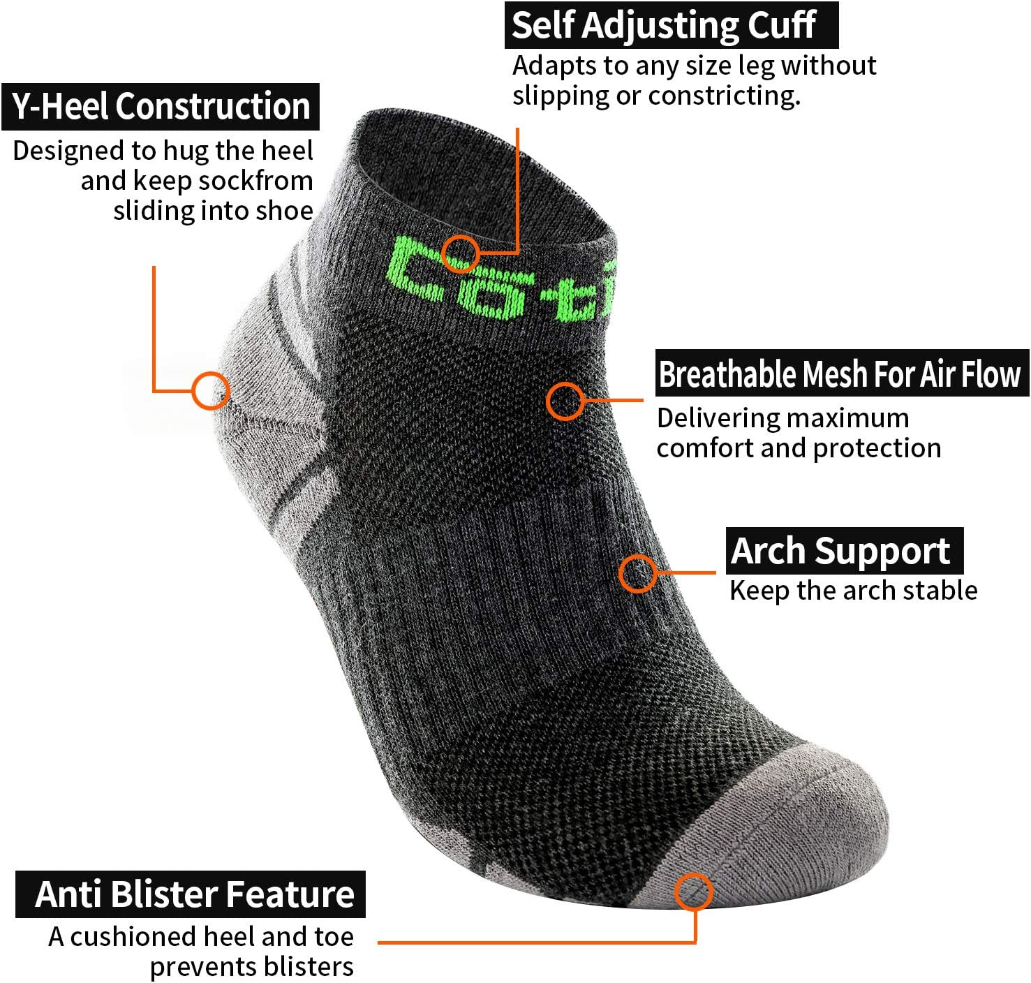 Cycling Walking Hiking Trekking Cotill Mens Running Socks 3 Pairs Performance Athletic Socks Cushioned Padded Anti Blister Outdoor Sports for Running
