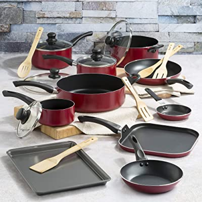 Induction Compatible and Easy to Clean Cooking Pots Red Pots and Pans-8 Piece Ceramic Coating Residue-Free Kitchen Cooking Set Captain Nonstick Cookware Set Mr