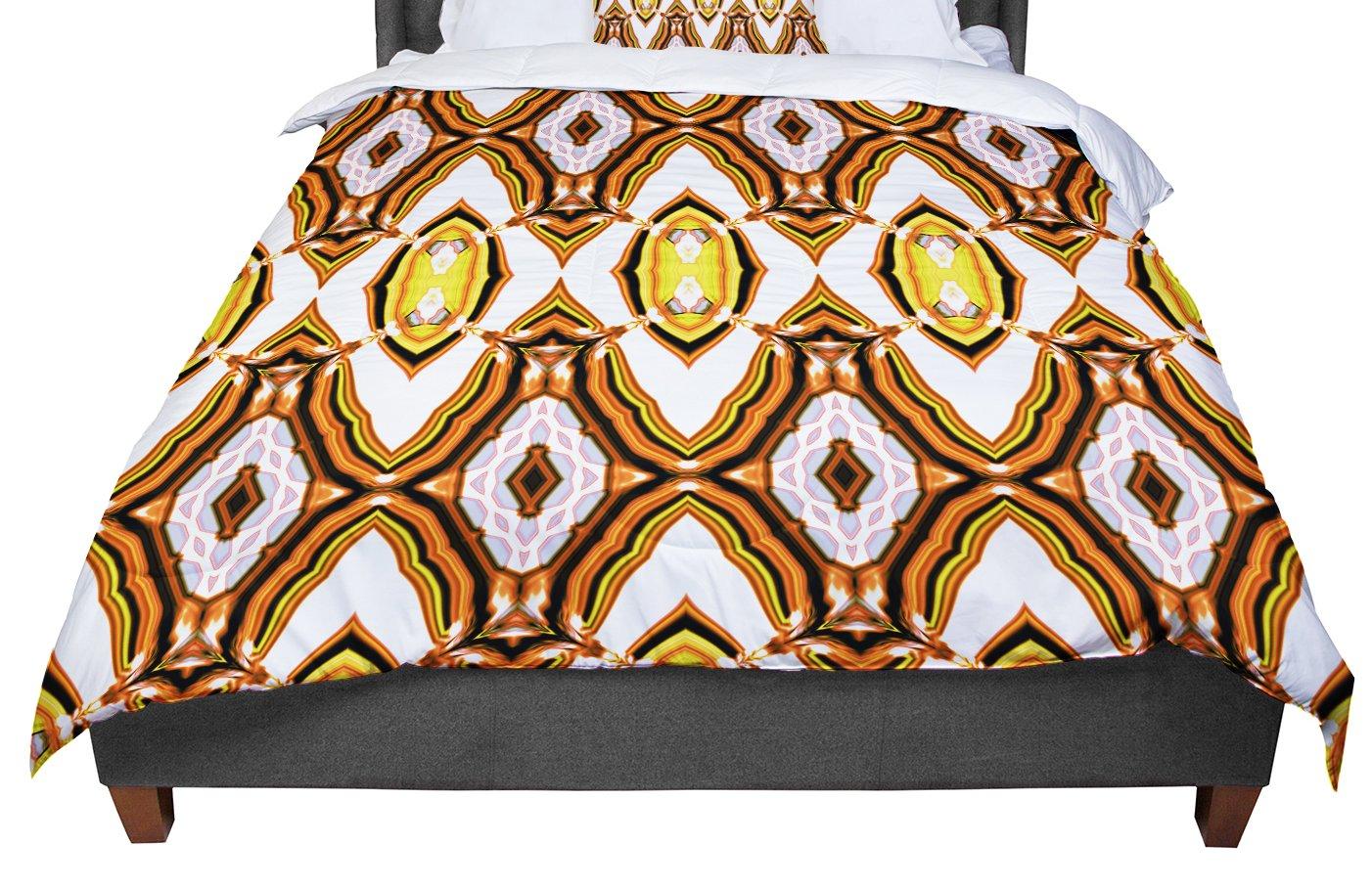 KESS InHouse Dawid Roc Inspired by Psychedelic Art 1 Orange Pattern Queen Comforter 88 X 88