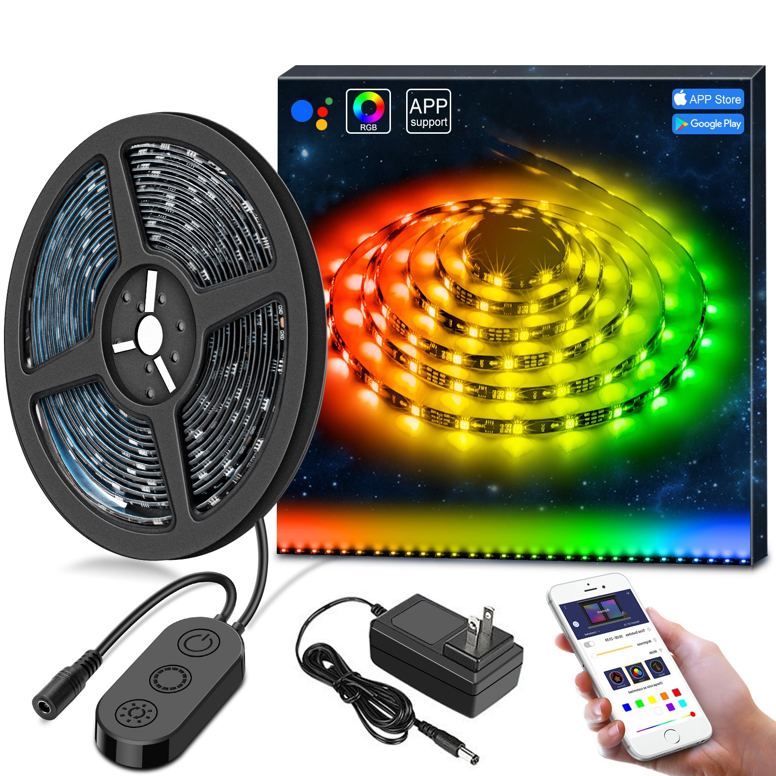 MINGER DreamColor LED Strip Lights Built IC, 9.8FT/3M LED Lights Sync to Music, Waterproof RGB Rope Light with APP, 5050 Flexible Strip Lighting, LED Tape Lights, Led String Lights Kit, 12V UL Listed