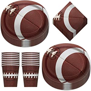Football Party Game Ball Oval Paper Dinner Plates, Luncheon Napkins, and Beverage Cups (Serves 16)