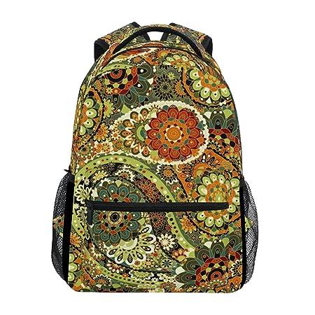 ZZKKO Mochilas étnicas indias de flores, para escuela, libro, viajes, senderismo, acampada, mochila: Amazon.es: Deportes y aire libre