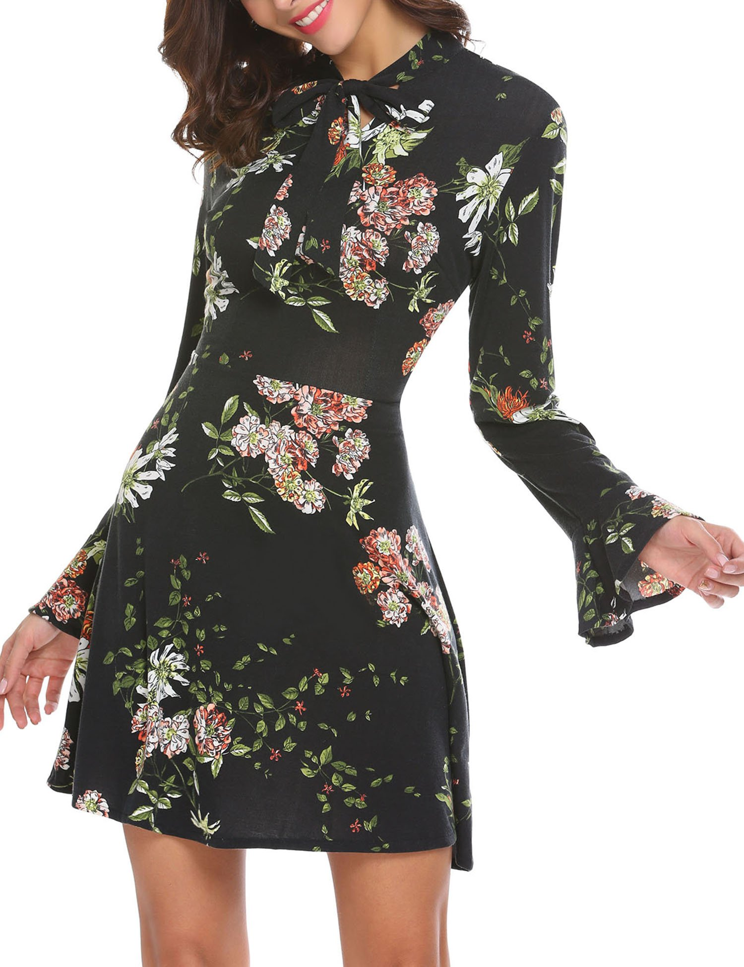 ACEVOG Women's Casual Floral Print Bell Sleeve Fit and Flare Dress (X-Large, Black) by ACEVOG (Image #3)