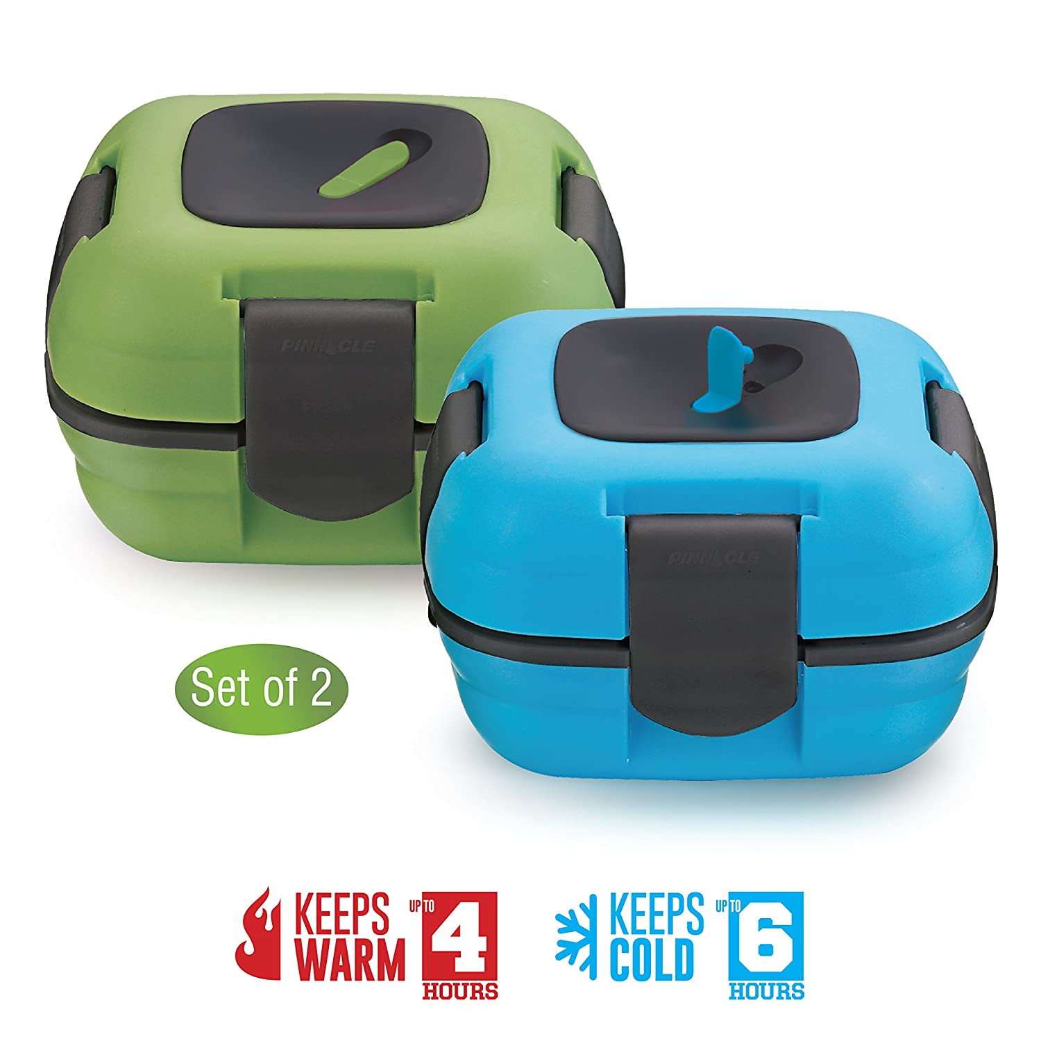 Lunch Box ~ Pinnacle Insulated Leak Proof Lunch Box for Adults and Kids - Thermal Lunch Container With NEW Heat Release Valve ~Set of 2~Blue/Green 16 oz ea Pinnacle Thermoware COMIN18JU065013