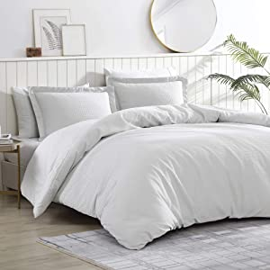 Brielle Pierce Solid 100% Cotton Soft Waffle Textured Comforter Set, White, Full/Queen