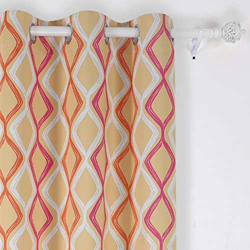 Deconovo Lattice Printed Blackout Grommet Curtains Room Darkening Curtains for Bedroom 42W x 63L Inch White Pink Orange and Yellow One Drapes