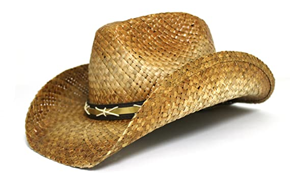 Peter Grimm Gold Coast Sunwear Western Straw Cowboy Hat (Tan with Stitched  Leather Band) 1d1ea8433b1