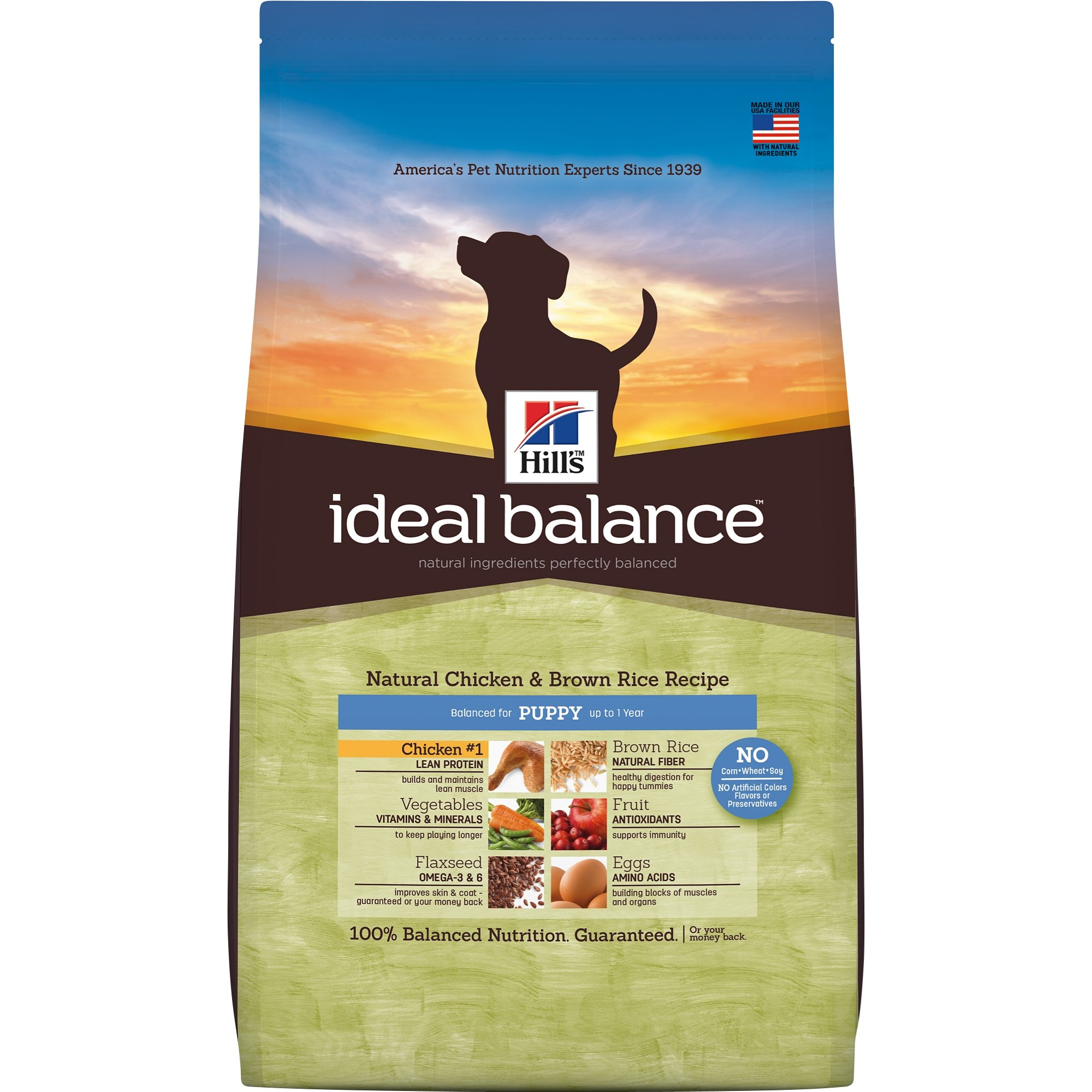 Hill's Ideal Balance Puppy Natural Dog Food, Chicken & Brown Rice Recipe Dry Dog Food, 12.5 lb Bag