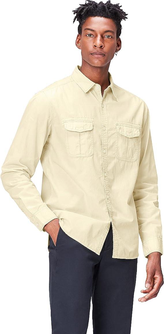 Marca Amazon - find. Camisa Estilo Safari de Corte Estándar para Hombre, Beige (Sand), XXL, Label: XXL: Amazon.es: Ropa y accesorios