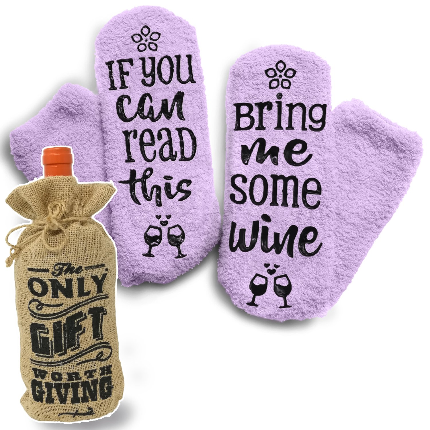Fuzzy Bring Me Wine Socks - Funny Socks + Wine Bottle Gift Jute Bag. Perfect Wine Accessories and House Warming Gift under $25 Dollars LVAP Group