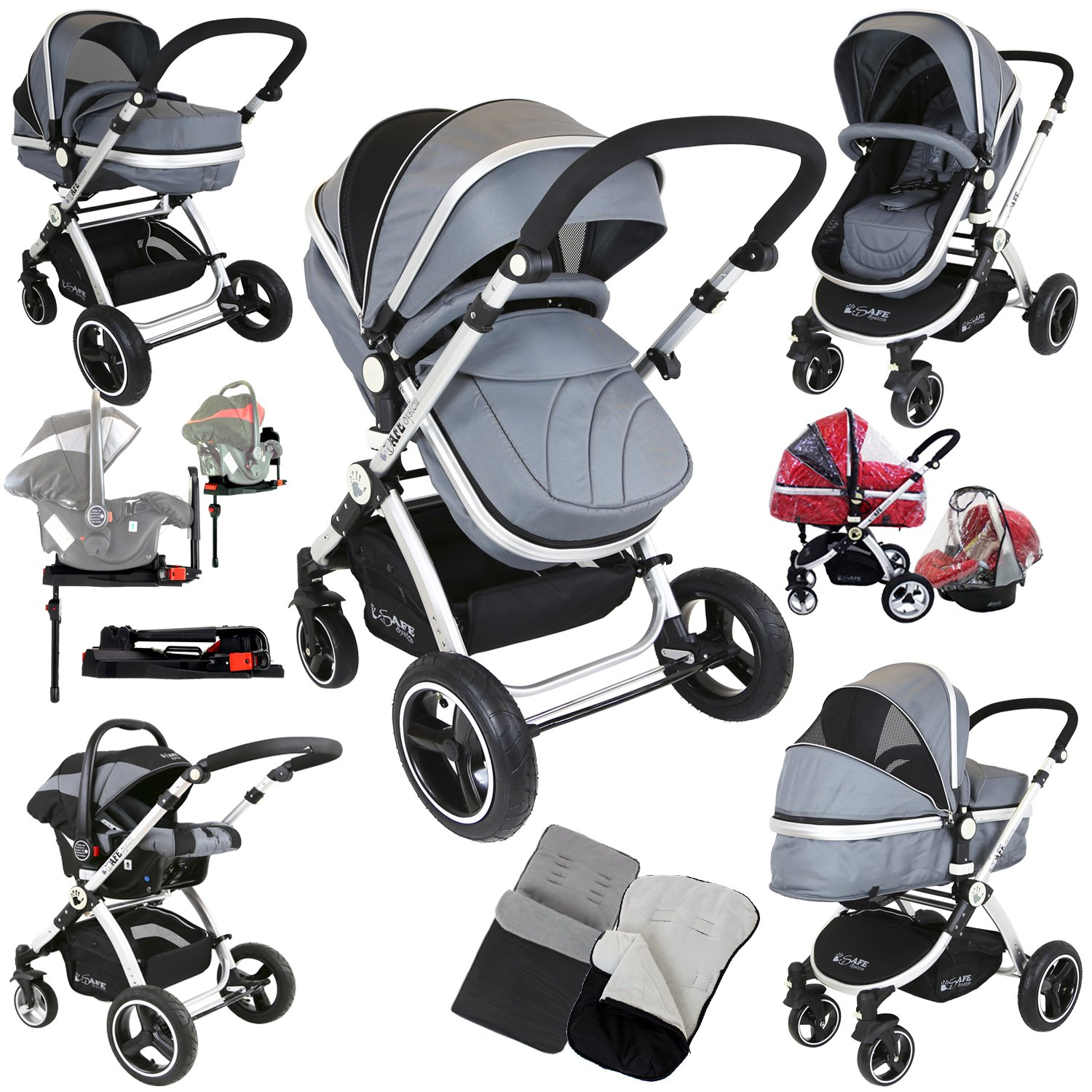 Safe System + iSOFIX Base - Grey Trio Travel System