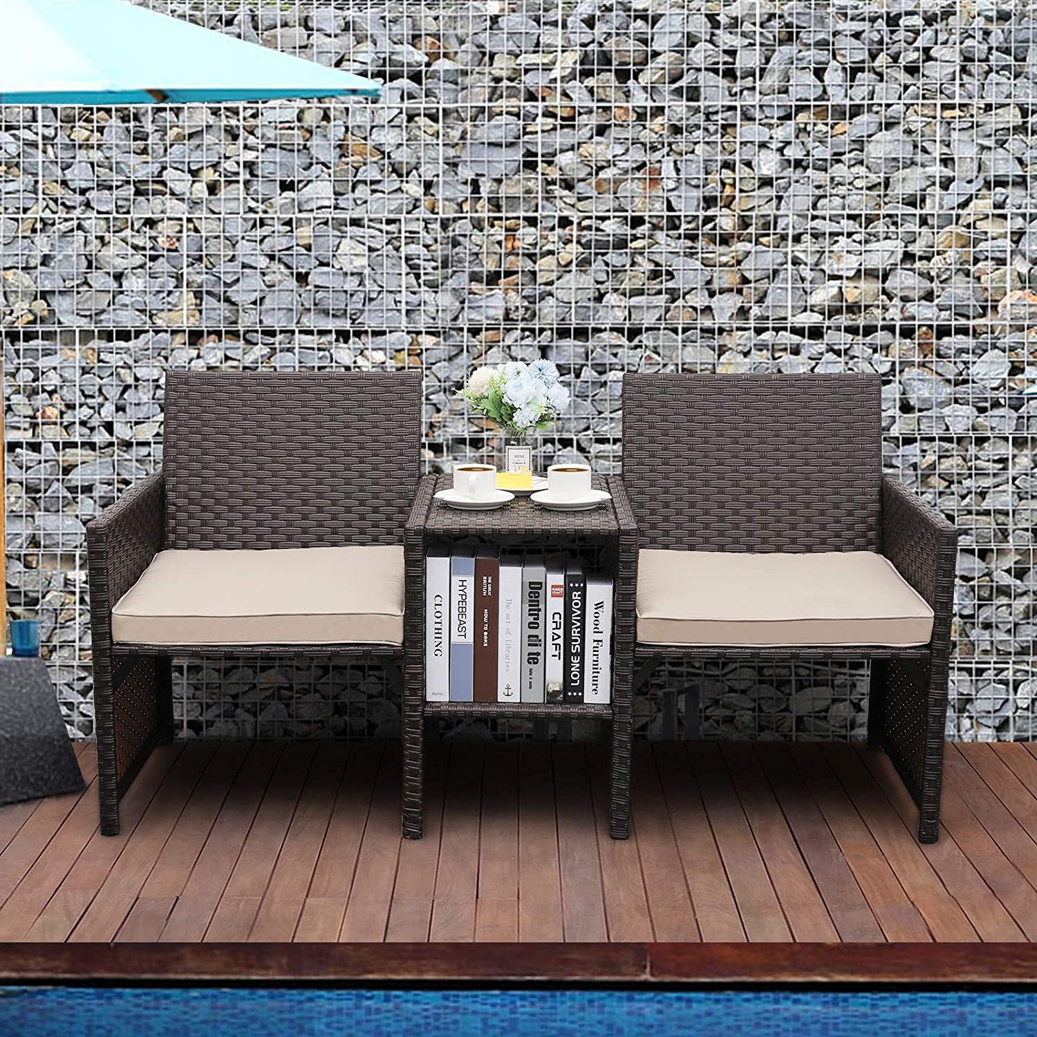 Valita Outdoor PE Wicker Loveseat Small Conversation Furniture Set Patio Rattan Bench seat with Table and Khaki Cushions
