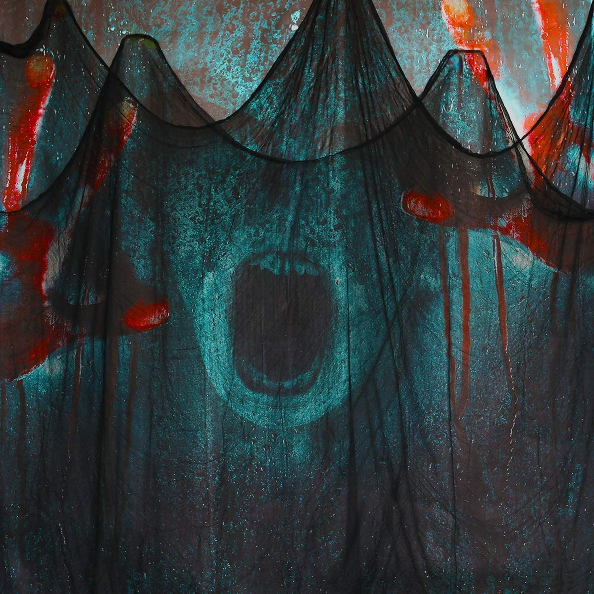 79 Inches x 360 Inches Halloween Creepy Cloth Cheesecloth, Spooky Halloween Decorations Outdoor Party Supplies Décor for Haunted House, Patio, Garden, Indoor Wall Windows