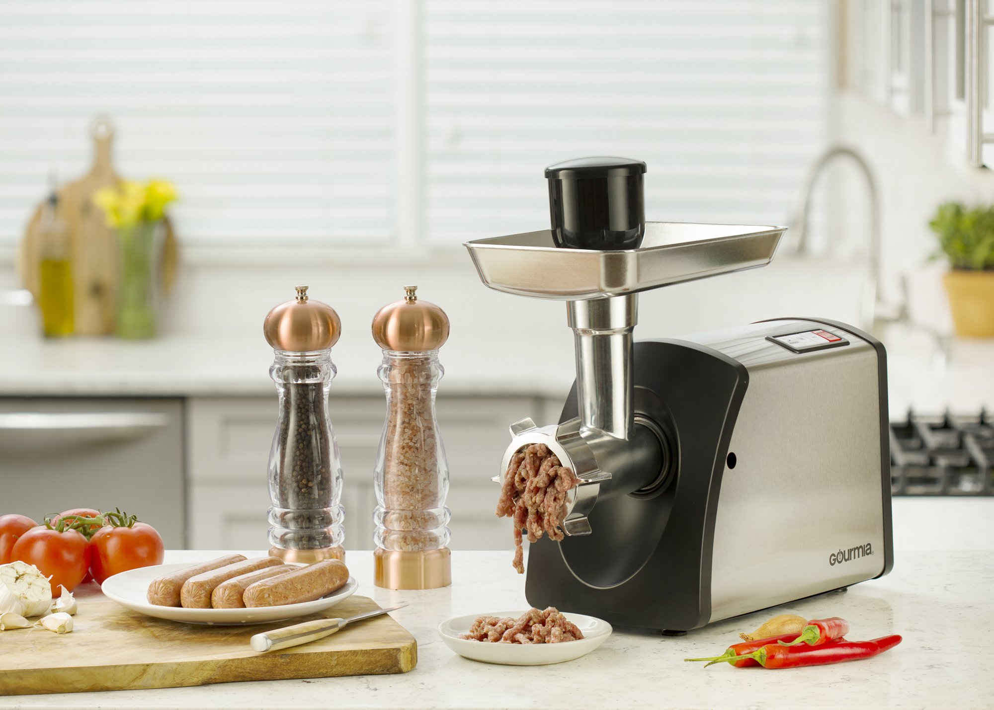 Gourmia GMG7500 Prime Plus Stainless Steel Electric Meat Grinder Different Grinding Plates, Sausage Funnels And Kibbeh Attachment Recipe Book Included 800 Watts ETL Approved 2200 Watts Max. - 110V by Gourmia (Image #2)