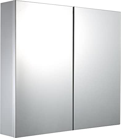 Mari Home Mirrored Bathroom Wall Cabinet Stainless Steel Mounted Storage Unit Large Space 3 Shelves Double Door Mirror Cabinets Cupboards Modern Home Decor Furnishings 600 X 120