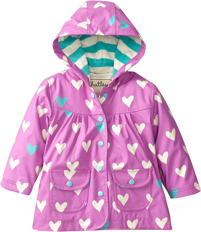 Hatley Little Girls  Rain Coat-Polka Dot Heart