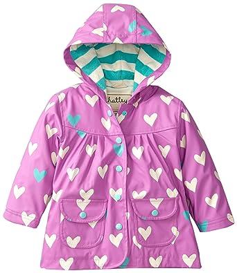 Amazon.com: Hatley Little Girls' Rain Coat-Polka Dot Heart, Purple ...