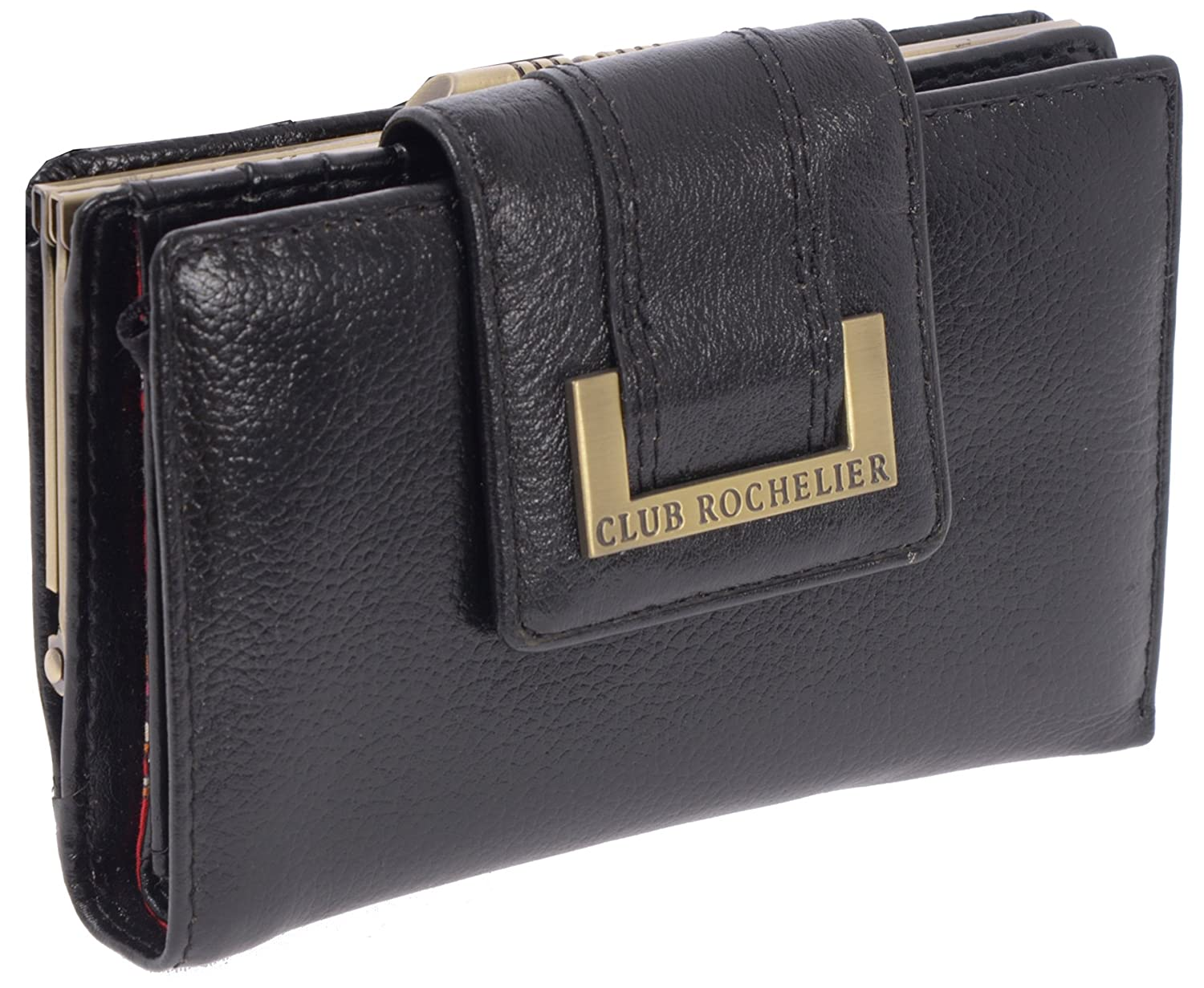 295974d75c03 Club Rochelier Women's Leather Wallet with Metal Frame Lock Change Holder  (Black)