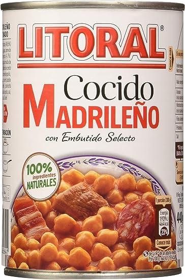 LITORAL Cocido Madrileño - Plato Preparado Sin Gluten - Pack de6x440 g - Total: 2640g: Amazon.es: Alimentación y bebidas