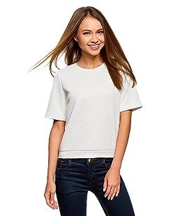 oodji Collection Femme Sweat-Shirt en Tissu Texturé à Manche Courte, Blanc, FR 38 / S