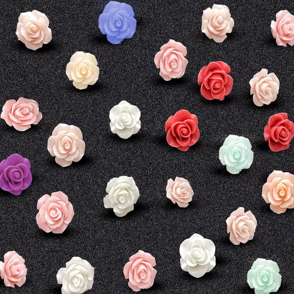 25 Pcs Cork Board Push Pins, Decorative Bulletin Board Thumbtacks,Rose Thumb Tacks Pushpins Clips for Corkboard, Photo Wall, Map, Office Organization or Home Decor,Assorted Color