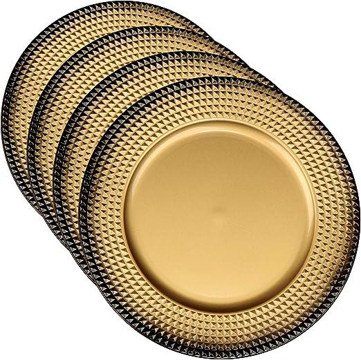 COM-FOUR® 4x Placa de asiento de plástico color oro - Platos de ...