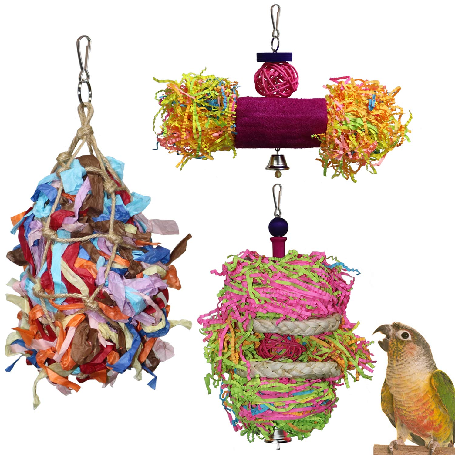 RYPET Bird Shredder Toys - Parrot Foraging Hanging Toy for Cockatiel Conure African Grey Amazon (3 Pack) by RYPET