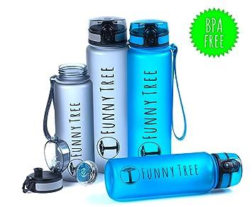 Cantimplora Funny TreeTritan Elite, botella deportiva, de 600 ml/1000 ml,sin BPA y antigoteo,adecuada para ...