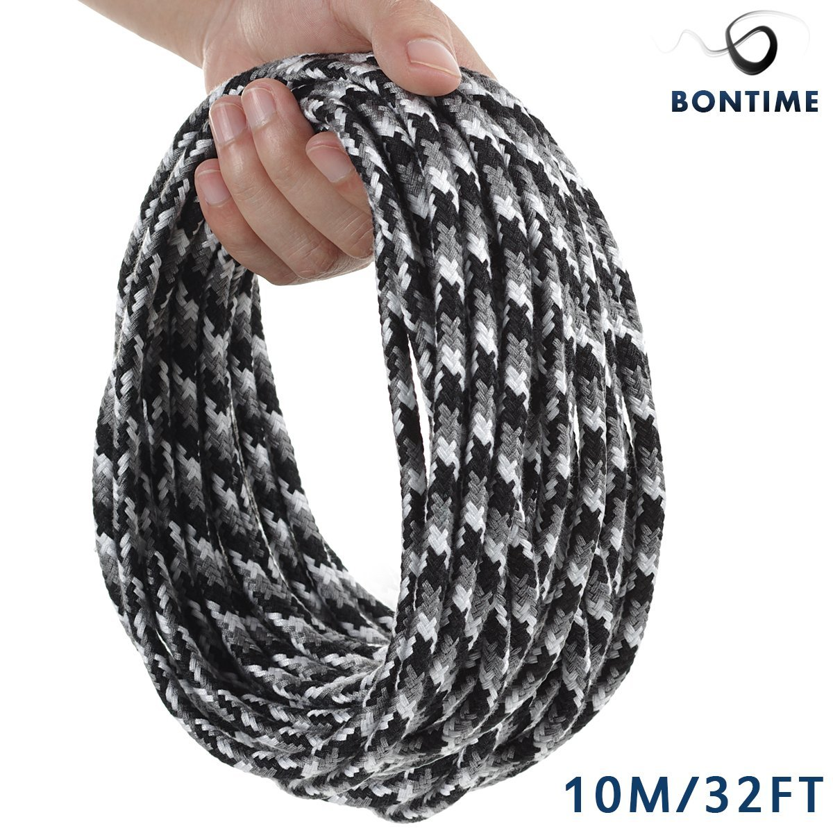 BONTIME All-Purpose Soft Cotton Rope - 32 Feet Length,1/3-Inch Diameter(Black & Grey & White,Pack of 3) by BONTIME (Image #3)