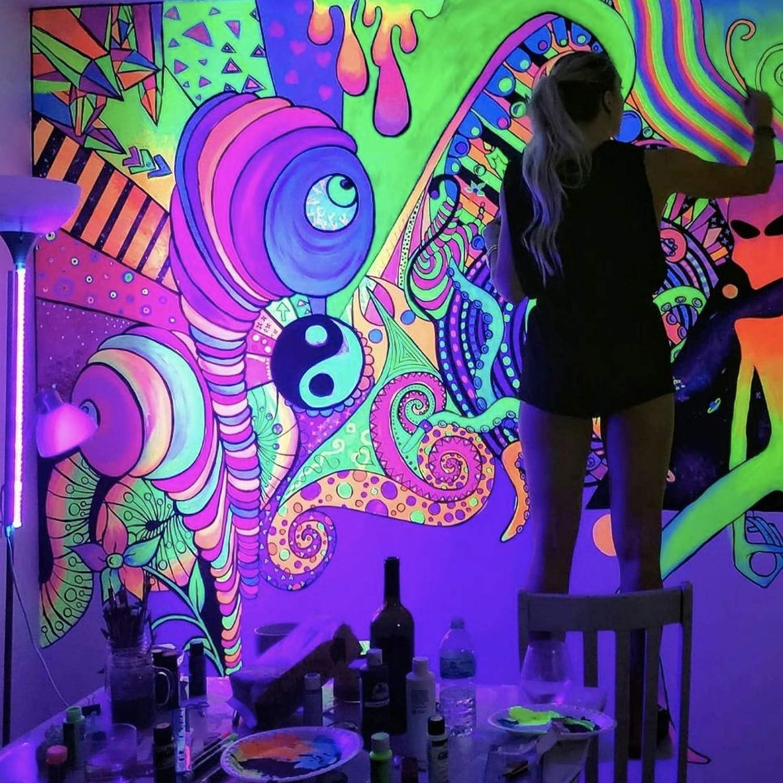 Black Light Acrylic Paint Set 8 Fluorescent Art Craft Paints Neon Glow Acrylic Paint Kit For Blacklights Uv Lights 8 X 20 Ml 0 7 Fl Oz Amazon Com