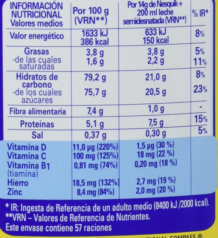 Nestlé - Nesquik Cacao Soluble Instantáneo Lata 800 g: Amazon.es: Alimentación y bebidas
