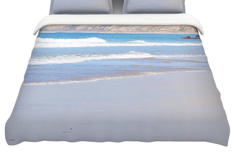 Kess InHouse Sylvia Coomes California Beach Blue BeigeKing Cotton Duvet Cover 104 x 88,