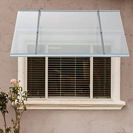 Festnight Patio Door Window Awning Polycarbonate Transparent, Black Frame  48u0026quot; ...