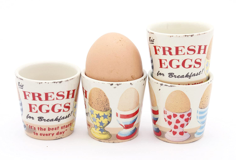 Martin Wiscombe FRESH EGGS Retro / Vintage Design Egg Cups - Set of 4 ECP