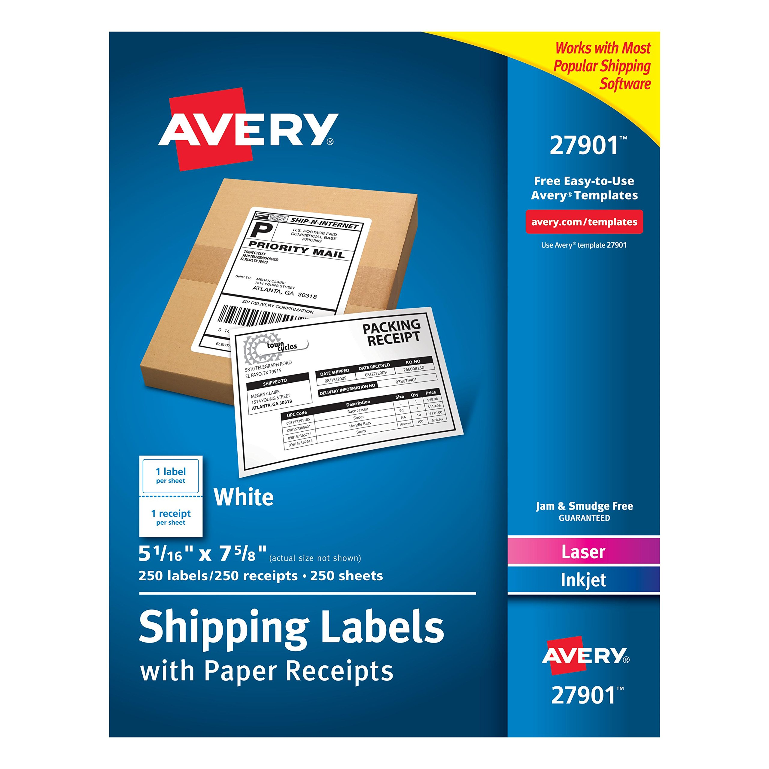 Avery White Shipping Labels with Paper Receipts, 5-1/16'' x 7-5/8'', 250 Pack (27901) by AVERY