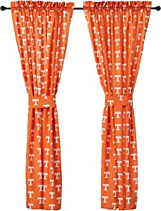 "College Covers Tennessee Volunteers 63"" Curtain Panels Set with Tiebacks, 42"" x 63"", Team Colors"