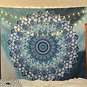 "Sunm Boutique Tapestry Wall Hanging Indian Mandala Tapestry Bohemian Tapestry Hippie Tapestry Psychedelic Tapestry Wall Decor Dorm Decor (Mysterious, 59.1""x59.1"")"