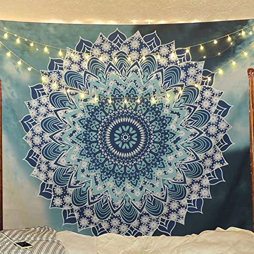 Sunm Boutique Tapestry Wall Hanging Indian Mandala Tapestry Bohemian Tapestry Hippie Tapestry Psychedelic Tapestry Wall Decor Dorm Decor White and Blue, 70.9 92.5 Inches