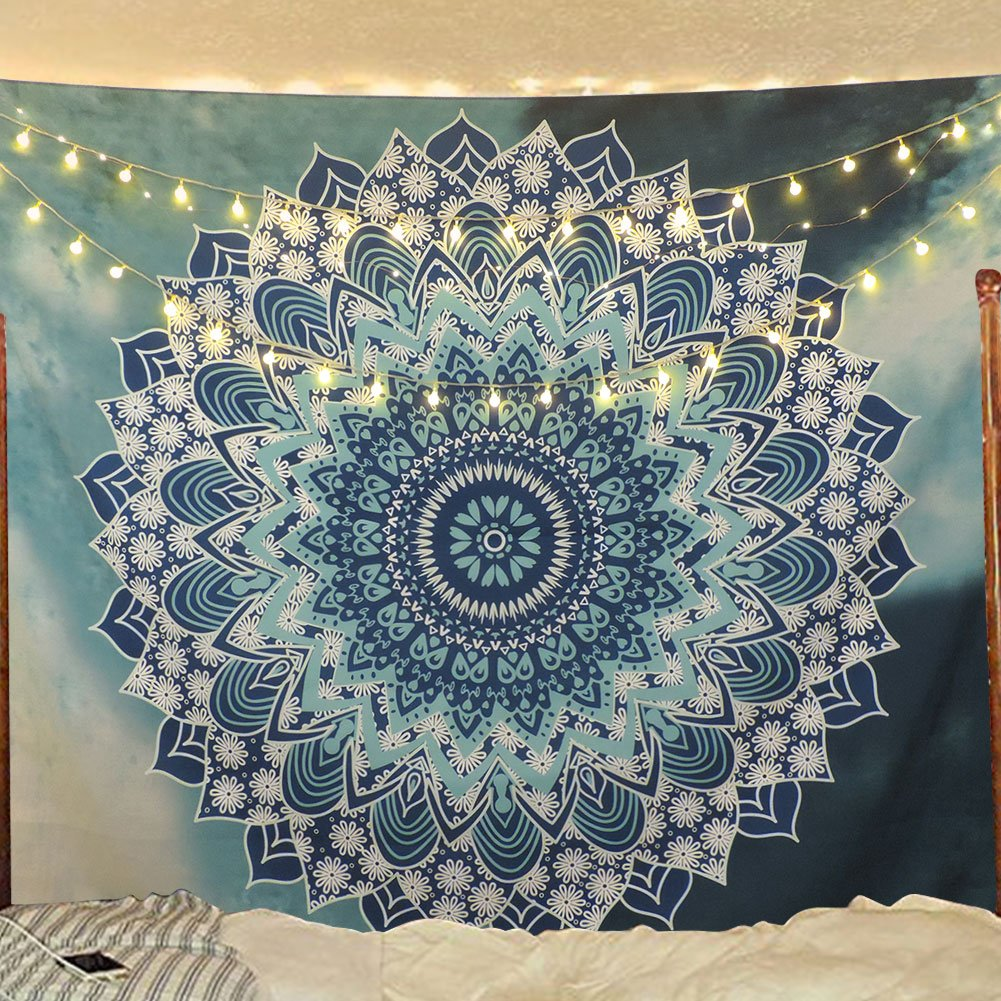Sunm Boutique Tapestry Wall Hanging Indian Mandala Tapestry Bohemian Tapestry Hippie Tapestry Psychedelic Tapestry Wall Decor Dorm Decor (Mysterious, 59.1''x59.1'')