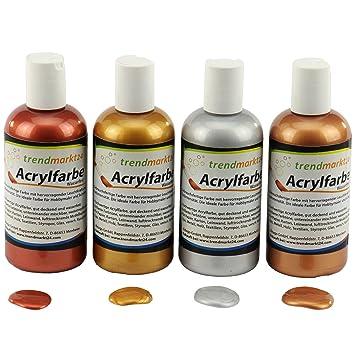 Kupfer Farbe trendmarkt24 acryl farben set metallic 4 farben gold silber