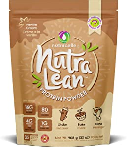 Nutralean Whey Protein for Women with Prebiotic Fiber to Help Feel Full - Vanilla Protein by Nutracelle - 2 lbs Bag (35 Scoops)