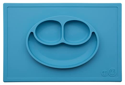 Amazon.com : ezpz Happy Mat - One-piece silicone placemat + plate (Blue) : Baby